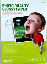 PAPEL FOTO GLOSSY INKTEC A4 DE 190g PAQUETE 20 HOJAS