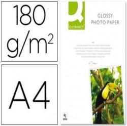 PAPEL FOTO GLOSSY Q-CONNECT A4 DE 180g PAQUETE 20 HOJAS